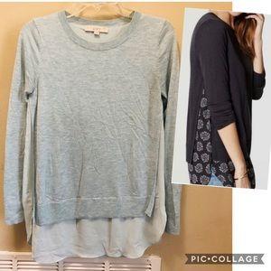 Ann Taylor Loft Green Layered Sweater Blouse S. XS